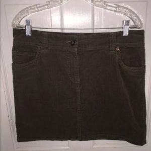 Tommy Hilfiger army green corduroy Mini Skirt sz 8